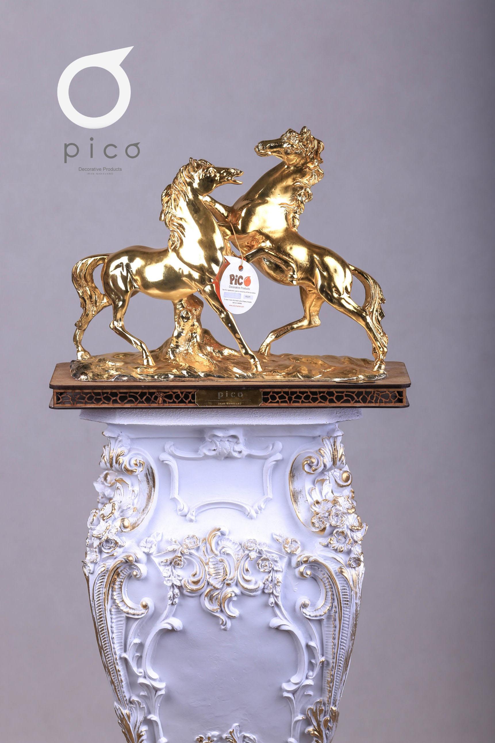 تندیس دو اسب (درجه یک. دو بار آبکاری شده)