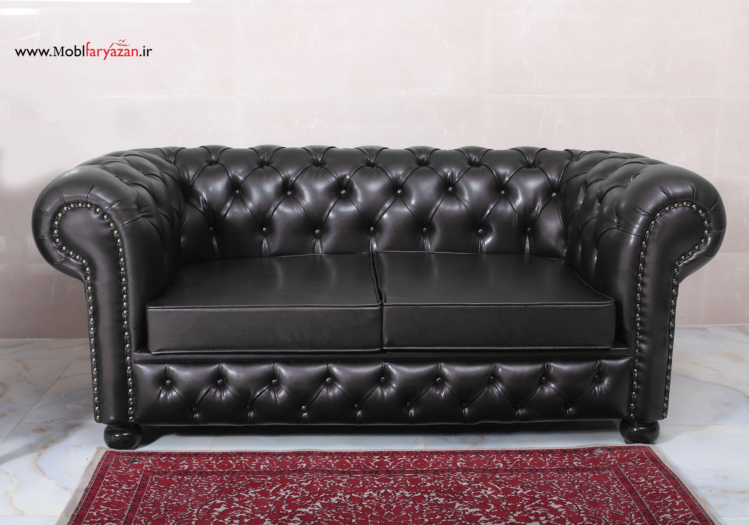 کاناپه دو نفره چستر با رنگ مشکی